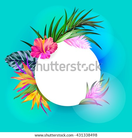 vector tropical wreath. amazing exotic flowers - hibiscus, pink quill, bird of paradise, banana, palm. amazing floral composition with glowing lights, beautiful tropical frame with a place for text.