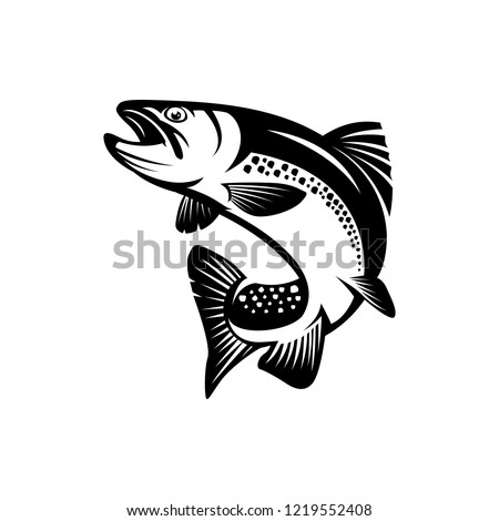 vector trout fish, fishing sign Stock photo ©