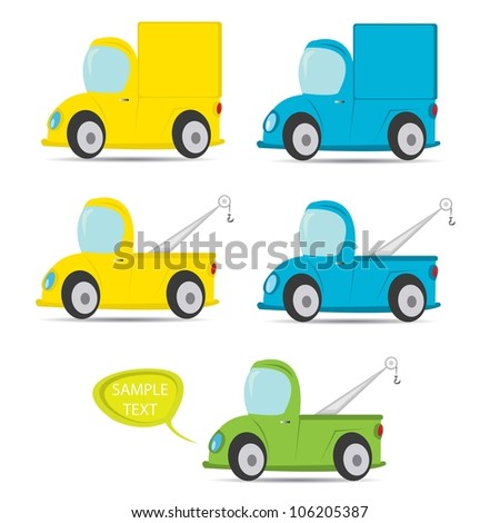 vector truck icon set. color delivery car collection.