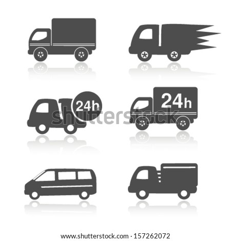 Vector truck symbols with shadow, delivery within 24 hours, car icons