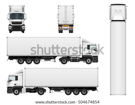vector truck trailer template