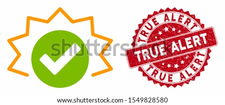 Vector true alert icon and grunge round stamp seal with True Alert text. Flat true alert icon is isolated on a white background. True Alert stamp seal uses red color and grunge texture.