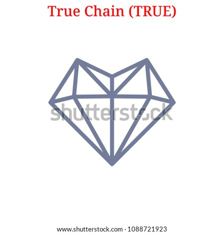 Vector True Chain (TRUE) digital cryptocurrency logo. True Chain (TRUE) icon. Vector illustration isolated on white background.