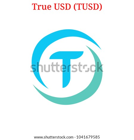 Vector True USD (TUSD) digital cryptocurrency logo. True USD (TUSD) icon. Vector illustration isolated on white background.
