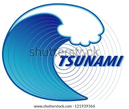 Vector - Tsunami. Giant Tsunami Wave Crest, Ocean ...