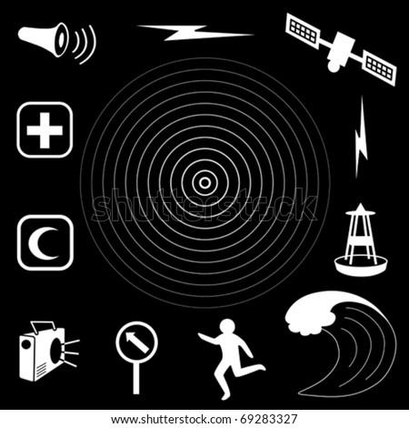vector - Tsunami Icons. Earthquake epicenter, tidal wave, warning siren, radio, emergency aid services,  tsunami detection buoy, satellite & transmission, fleeing person, evacuation sign.