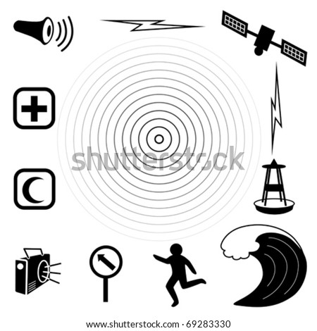 vector - Tsunami Icons. Earthquake epicenter, tidal wave, warning siren, radio, emergency aid services,  tsunami detection buoy, satellite & transmission, fleeing person, evacuation sign.
