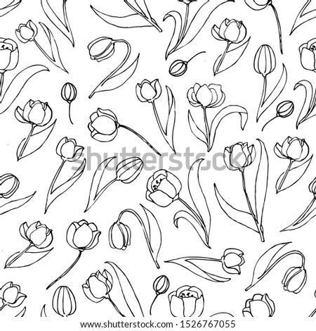 Vector tulip black line seamless pattern. Tulip seamless pattern, vector seamless background. Decorative vector seamless illustration, good for printing. Great for label, print, packaging, fabric.