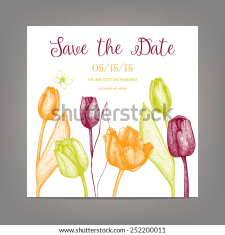 vector tulip save the date card