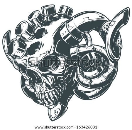 vector turbo skull