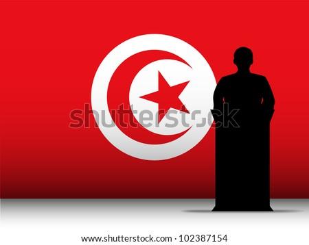 Vector - Turkey  Speech Tribune Silhouette with Flag Background
