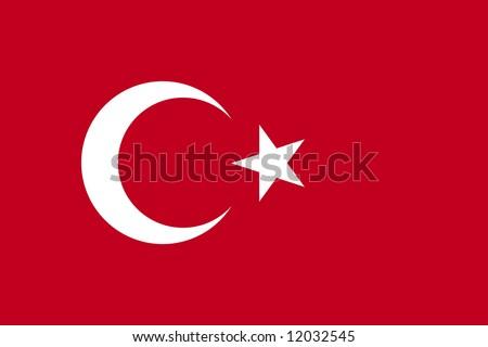 Vector Turkish flag. Original proportions.