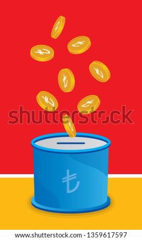 vector turkish lira and moneybox concept