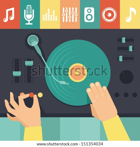 Stock Photo Vector turntable and dj hands - music concept in flat retro style