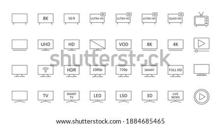 Vector TV icons. Editable stroke. Ultra HD 8K 5K 4K 2K television. LED LCD display screen Full HD. Retro TV play video SMART 16: 9 diagonal 3D signal