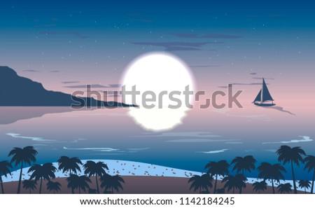 vector twilight sky over ocean