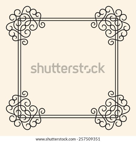 Vector Twirl Vintage Frame in flourish royal style, black on light background, isolated and easy to edit