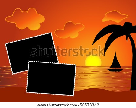 stock-vector-vector-two-blank-photo-frames-on-the-beach-sunset-background-50573362.jpg