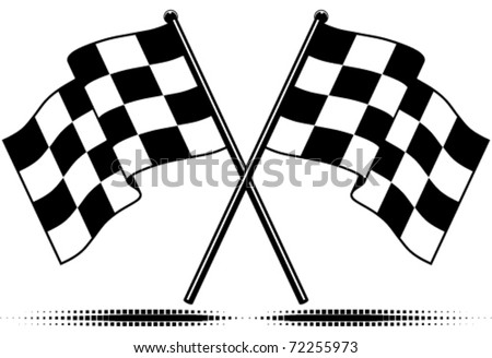 Black White Clip  Auto Racing on Vector Two Crossed Checkered Flags  Black And White Design  Gradient