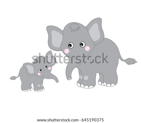 vector two grey cute elephants
