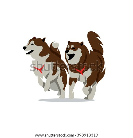 vector two husky dog cartoon