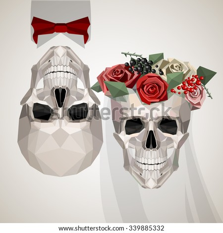 vector two newlywed skulls with