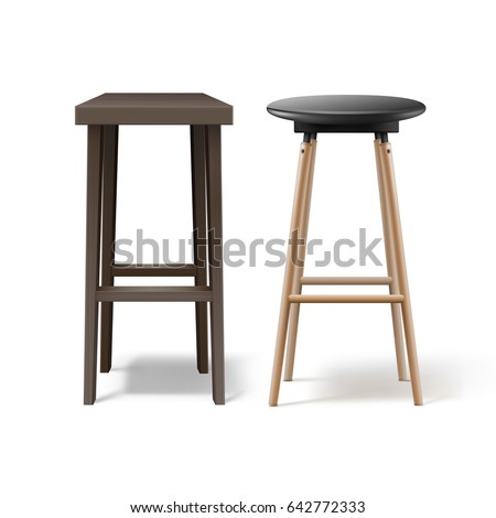 Vector two ocher, brown wooden bar stools with black leather seats front view isolated on white background