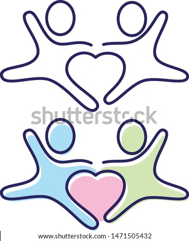 Vector two people holding hands icon symbol with love in the middle. People in abstract and flat style for element design. Vector illustration EPS.8 EPS.10