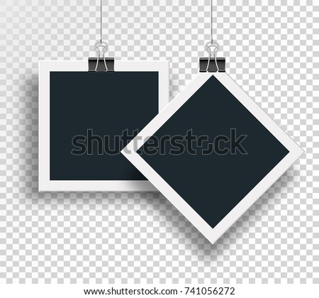 Vector two photo frame clamped binders clips and weighs on a steel cable on the clip on an isolated background.
