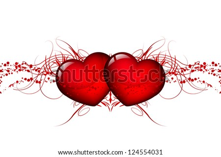 Vector two red hearts