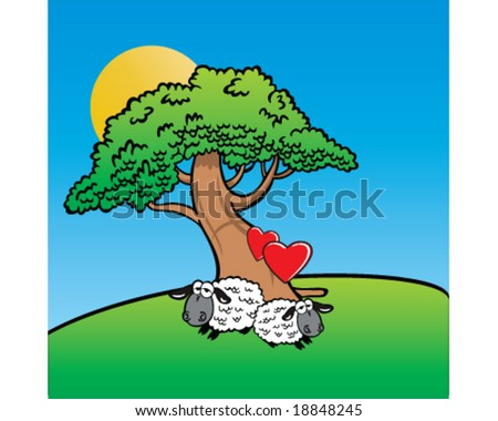 vector two sheep in love, resting under tree