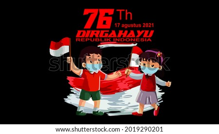 vector two small children wearing masks celebrating Indonesia's 76th independence day Stock fotó ©