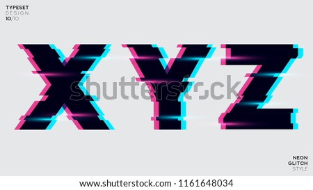 Vector Typeset Design. Neon Glitch Style. Black Bold Font, Double Exposure. Trendy Neon Glowing Letters. Abstract Colorful Type For Creative Heading, Music Poster, And Sale Banner.