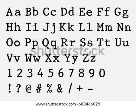 vector typewriter font. vintage ...