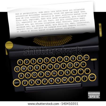 Vector typewriter with list paper for text. EPS10.