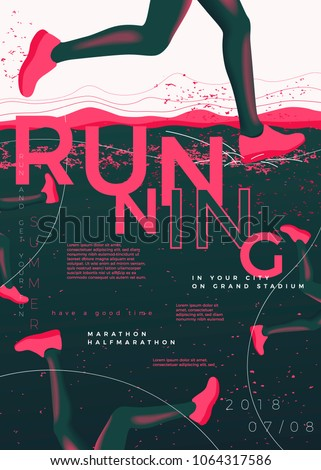 Vector typographic running poster template, with runners, grunge textures, and place for your texts.
