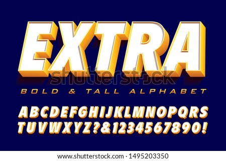 Vector typography 3d font: Extra bold and tall alphabet with depth and shadow.