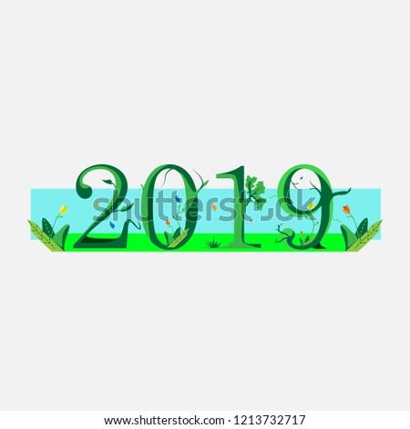 vector typography text 2019