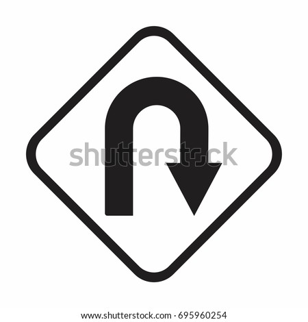 Vector U-Turn Roadsign with turn symbol isolated on white background