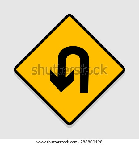 Vector U-Turn Roadsign with turn symbol isolated on white background, illustration EPS10