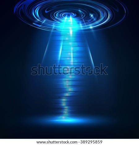 vector ufo light in dark blue