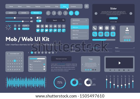 Vector UI kit for mobile applications and web sites. Universal user interface template with responsive design, tools and buttons. Flat menu icons and control elements on color background. stock photo