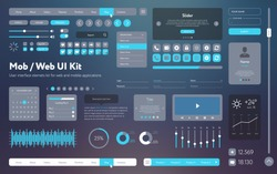 Vector UI UX kit for mobile applications and web sites. Universal user interface template with responsive design, tools and buttons. Flat menu icons and control elements on color background.