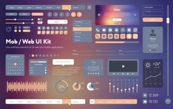 Vector UI UX kit for mobile applications and web sites. Universal user interface template with responsive design, tools and buttons. Flat menu icons and control elements on colorful background.