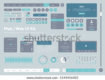 Vector UI UX kit for mobile applications and web sites. Universal user interface template with responsive design, tools and buttons. Flat menu icons and control elements on gray background.