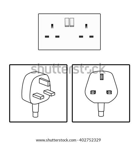 Vector. UK / British socket and plug. Icon. Three (3) pin socket isolated illustration.