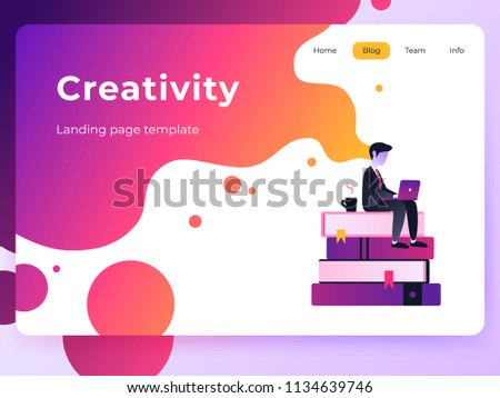 Vector ultra violet gradient illustration of creativity in Internet. Website design concept with bright colorful splash. Landing page template with businessman working with laptop.