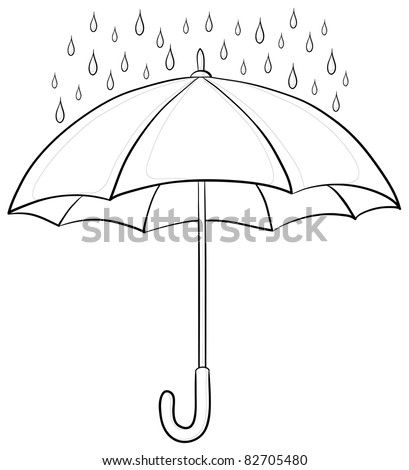 Vector, umbrella and rain drops, monochrome contours on white background