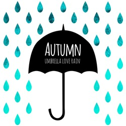 Vector umbrella black symbol with text block. Watercolor blue autumn background. Square composition with umbrella and rain drops. Design template for label, flyer, banner, card.