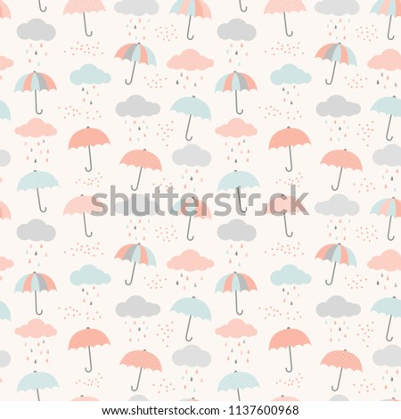 Vector umbrella pattern with clouds and rain drops. Cute colorful seamless background in pastel blue, pink and gray.